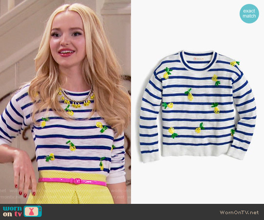 J. Crew Girls' Sequin Pineapple Popover Sweater worn by Dove Cameron on Liv & Maddie