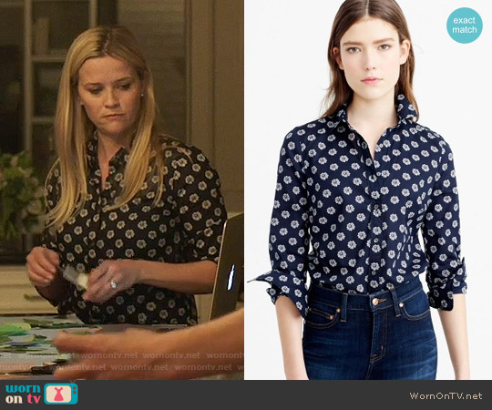 J. Crew Perfect Shirt in Scattered Daisy worn by Reese Witherspoon on Big Little Lies