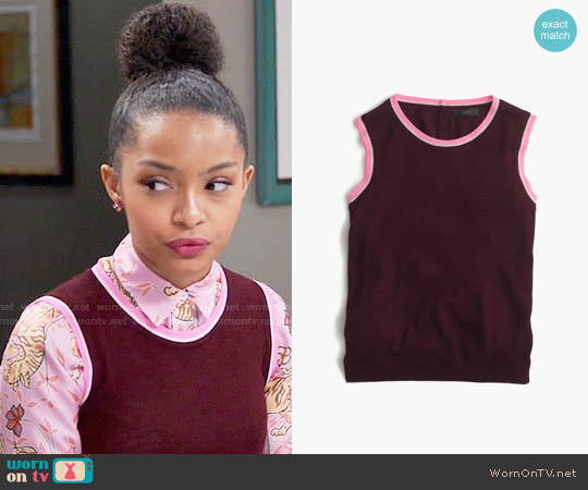 J. Crew Tipped Jackie Shell worn by Zoey Johnson on Blackish