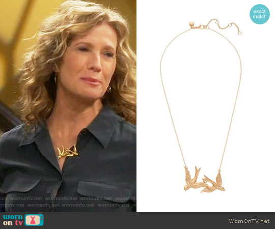 J. Crew Twin Birds Necklace worn by Nancy Travis on Last Man Standing