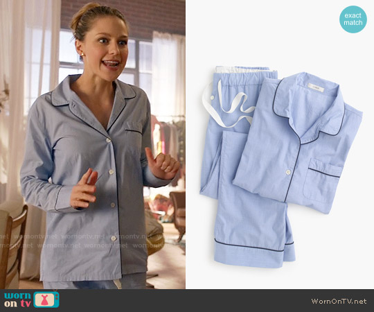 J. Crew Vintage Pajama Set in Hydrangea worn by Melissa Benoist on Supergirl