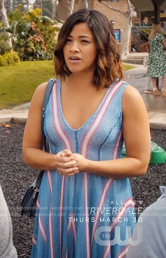 Jane's blue dress with red and white stripes on Jane the Virgin