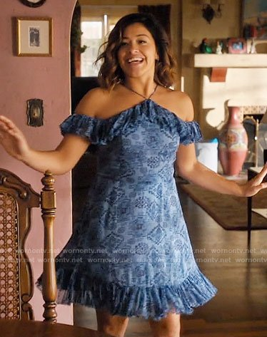 Jane's blue ruffled dress on Jane the Virgin