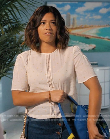 Jane's white and yellow embroidered top with mesh panel on Jane the Virgin