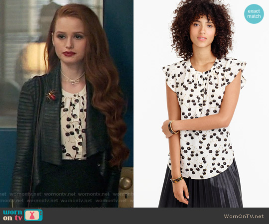 J. Crew Flutter-sleeve top in cherry print worn by Madelaine Petsch on Riverdale