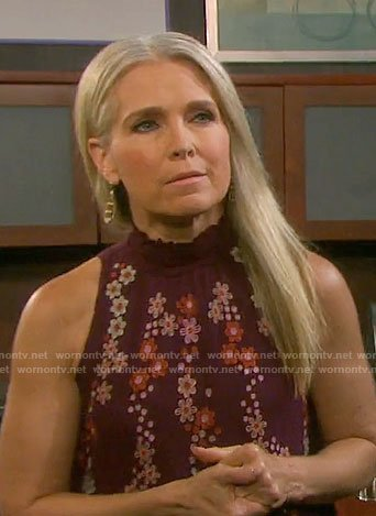 Jennifer's burgundy floral embroidered top on Days of our Lives