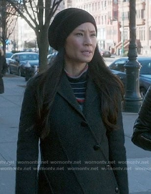 Joan's black and red striped turtleneck sweater on Elementary