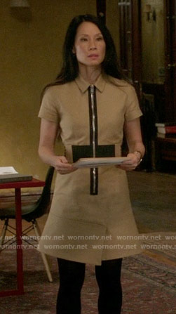 Joan's beige zip-front shirtdress on Elementary