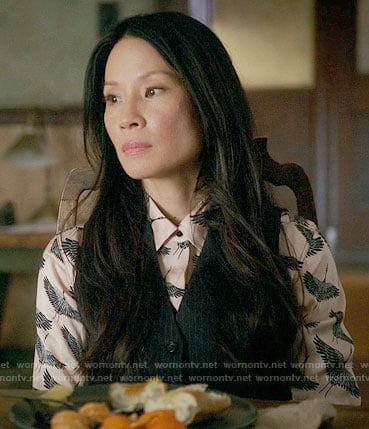 Joan's bird print shirt on Elementary