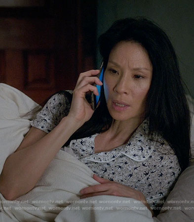 Joan's bird print pajamas on Elementary
