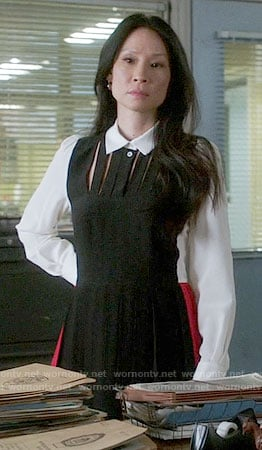 Joan's black, white, and red colorblock shirtdress on Elementary