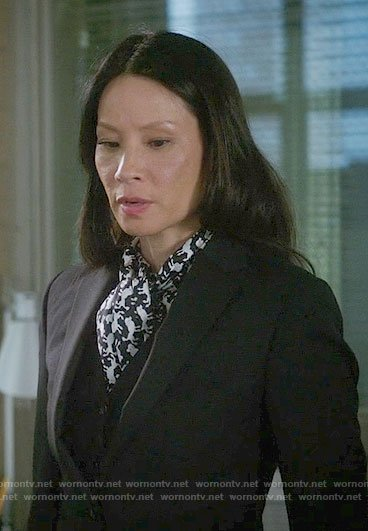 Joan's dog print blouse on Elementary
