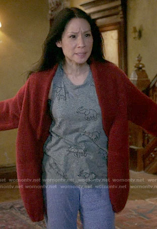 Joan's elephant print top on Elementary