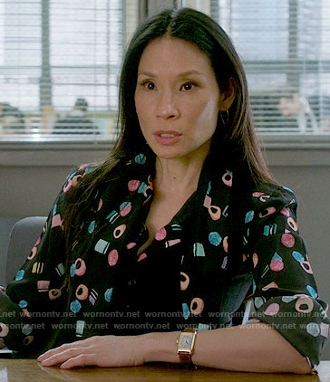 Joan's licorice all sorts print blouse on Elementary