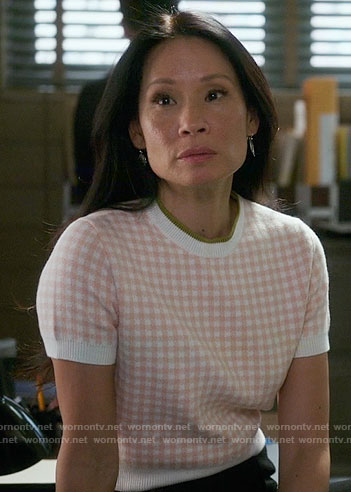 Joan's pink gingham checked sweater on Elementary