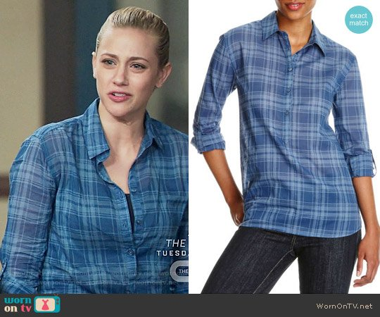 Joe Fresh Plaid Popover worn by Lili Reinhart on Riverdale