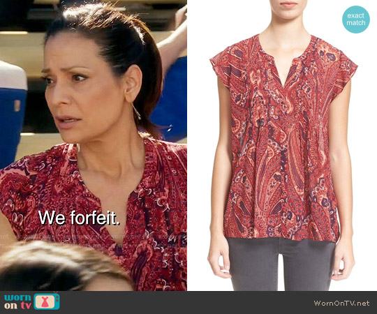 Joie 'Matin' Flutter Sleeve Paisley Print Silk Blouse worn by Constance Marie on Switched at Birth