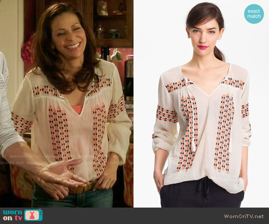 Joie Nira Blouse worn by Regina Vasquez (Constance Marie) on Switched at Birth