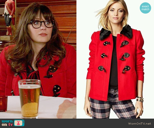 Juicy Couture Short Swing Coat worn by Zooey Deschanel on New Girl