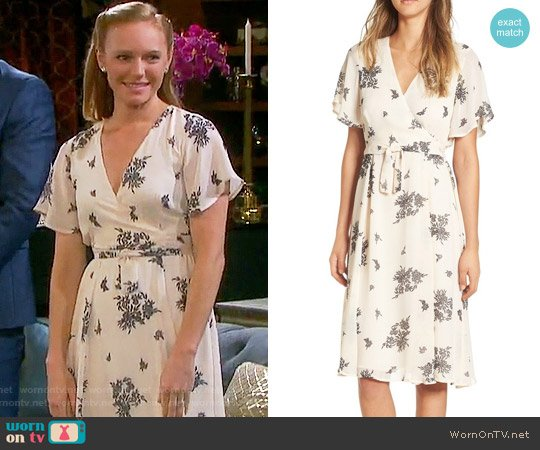 June & Hudson Floral Print Wrap Dress worn by Marci Miller on Days of our Lives