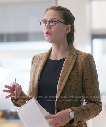Kara's camel windowpane checked blazer on Supergirl