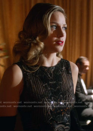 Kara's black sequin gown on Supergirl
