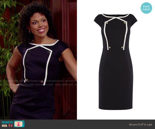 Karen Millen Button Detail Pencil Dress worn by Karla Mosley on The Bold & the Beautiful