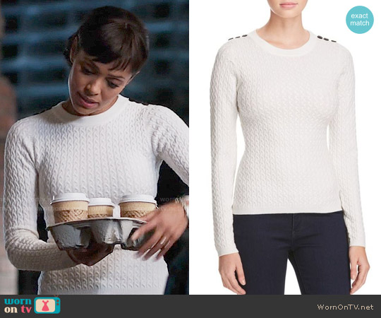 Karen Millen Button Cable Knit Sweater worn by Camille Saroyan (Tamara Taylor) on Bones