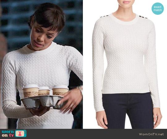 Karen Millen Button Cable Knit Sweater worn by Tamara Taylor on Bones