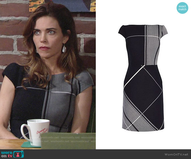 Karen Millen Check Dress worn by Victoria Newman (Amelia Heinle) on The Young & the Restless