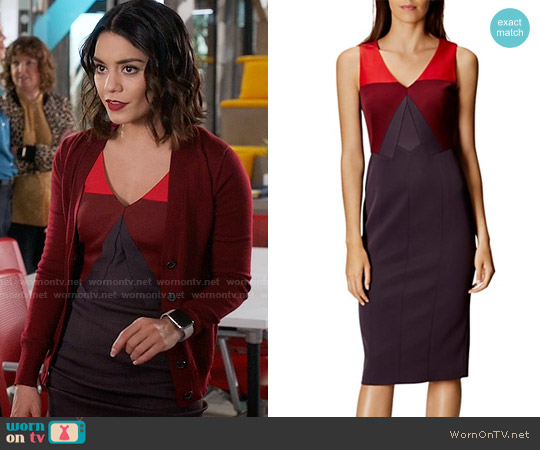 Karen Millen Color-Block Pencil Dress worn by Vanessa Hudgens on Powerless