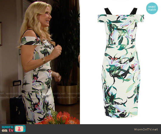 Karen Millen Lily Print Pencil Dress worn by Katherine Kelly Lang on The Bold & the Beautiful