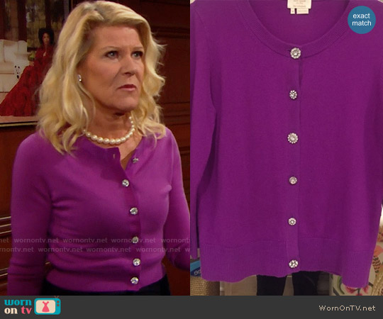 Kate Spade Crop Jewel Button Cardigan worn by Alley Mills on The Bold & the Beautiful