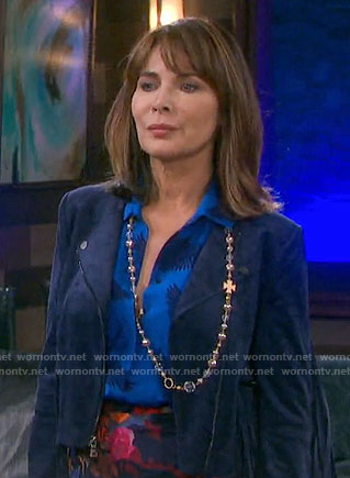 Kate's blue bird print blouse and blue fringed suede jacket on Days of our Lives