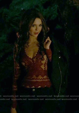 Katherine's red lace top on The Vampire Diaries
