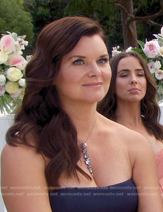 Katie's stone necklace at Steffy's wedding on The Bold and the Beautiful