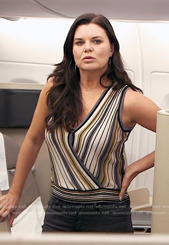Katie's striped wrap top on The Bold and the Beautiful