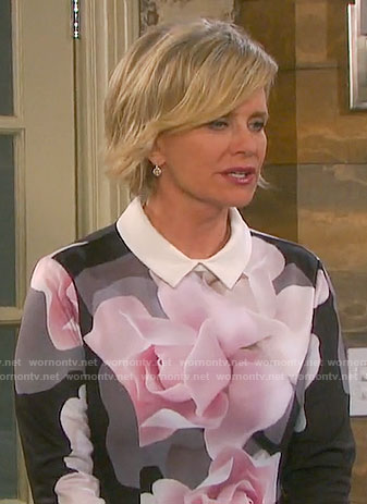 Kayla's black and pink floral collared dress on Days of our Lives