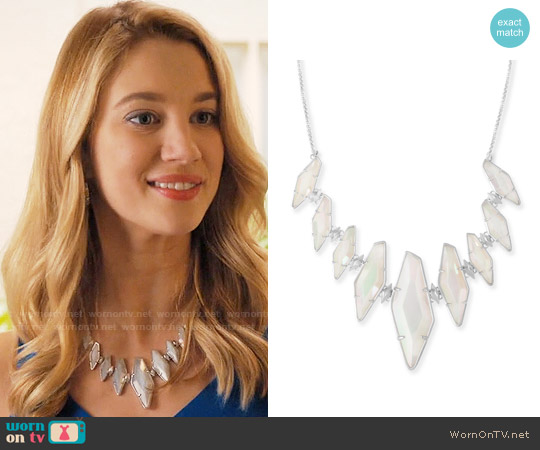 Kendra Scott Berniece Collar Necklace In Iridescent White Banded Agate worn by Petra Solano on Jane the Virgin