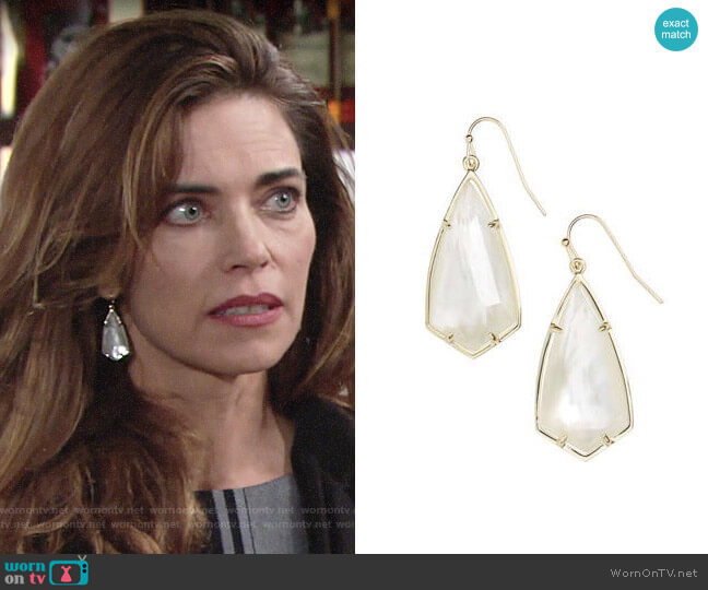 Kendra Scott Carla Earrings in Ivory Mop / Gold worn by Victoria Newman (Amelia Heinle) on The Young & the Restless