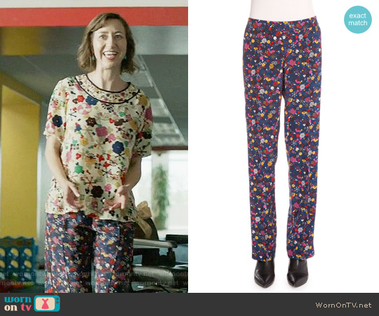 Kenzo Small Tanami Flower Silk Straight-Leg Pants worn by Carol Pilbasian on Last Man On Earth