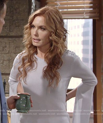 Lauren's bell sleeve sweater with lace-up shoulders on The Young and the Restless