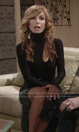 Lauren's black cutout top and floral skirt on The Young and the Restless
