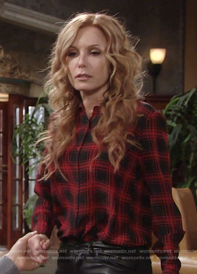 Lauren's red and black plaid shirt on The Young and the Restless