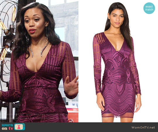 Lavish Alice Embroidered Mesh Plunge Dress worn by Hilary Curtis (Mishael Morgan) on The Young & the Restless