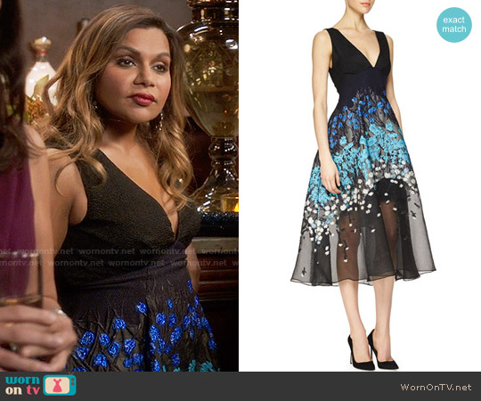 Lela Rose Floral-Embroidered Fit-And-Flare Combo Dress worn by Mindy Lahiri (Mindy Kaling) on The Mindy Project