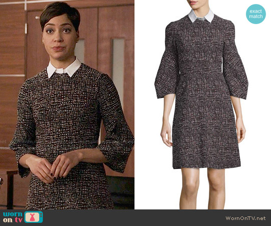 Lela Rose Printed Detachable-Collar A-Line Dress worn by Cush Jumbo on The Good Fight