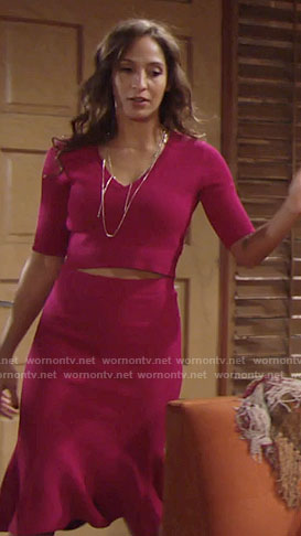 Lily's pink cropped sweater and skirt on The Young and the Restless