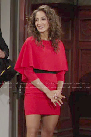 Lily's red sleeve overlay dress on The Young and the Restless