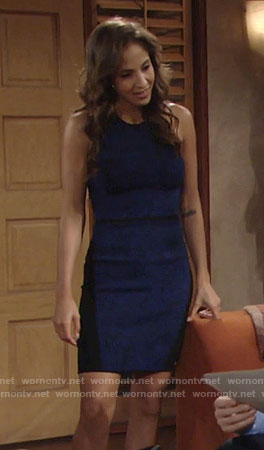 Lily's blue swirl print dress on The Young and the Restless